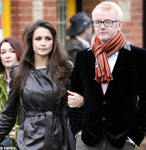 Chris Evans and his wife Natasha Shishmanian arriving at the church.